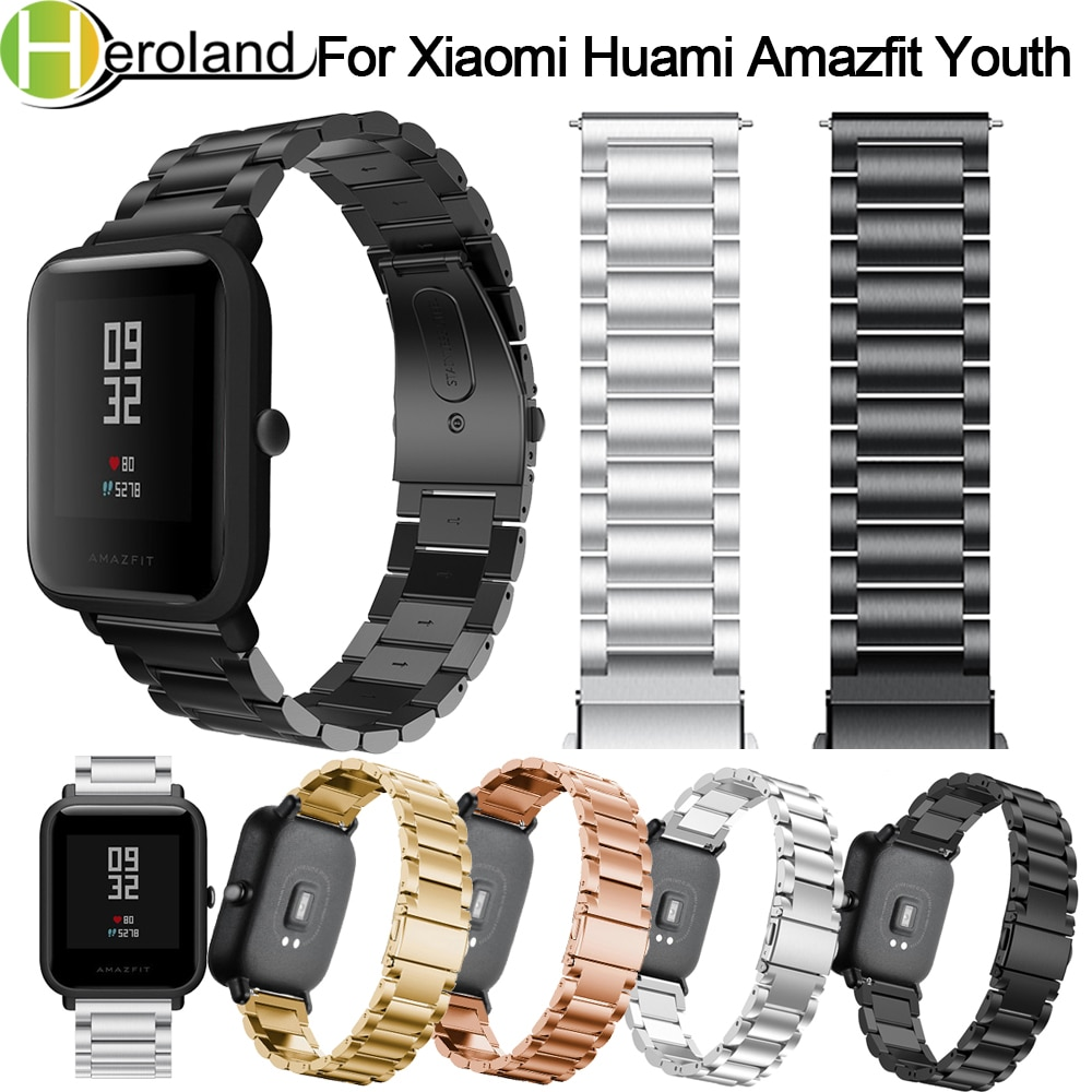 Strap for Xiaomi Huami Amazfit Bip Youth Smart Watch 20mm Bracelet Wrist Band for Huami Bip BIT Lite Strap Metal Stainless Steel genuine leather loop magnetic band strap for huami amazfit bip bit pace lite youth smart watch closure buckle wristband bracelet