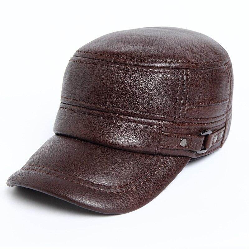 HARPPIHOP جلد طبيعي شقة الذروة قبعة عسكرية الهيب هوب القبعات الرجال قبعات شتاء دافئ