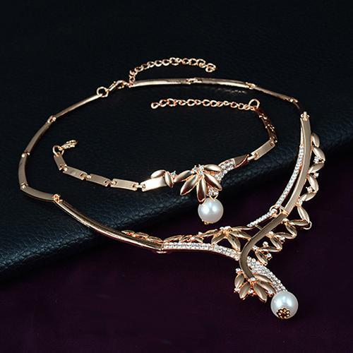 Boda fiesta hoja Faux gargantilla de perlas colgantes collar anillo, pendientes, pulsera Set parrure bijoux femme