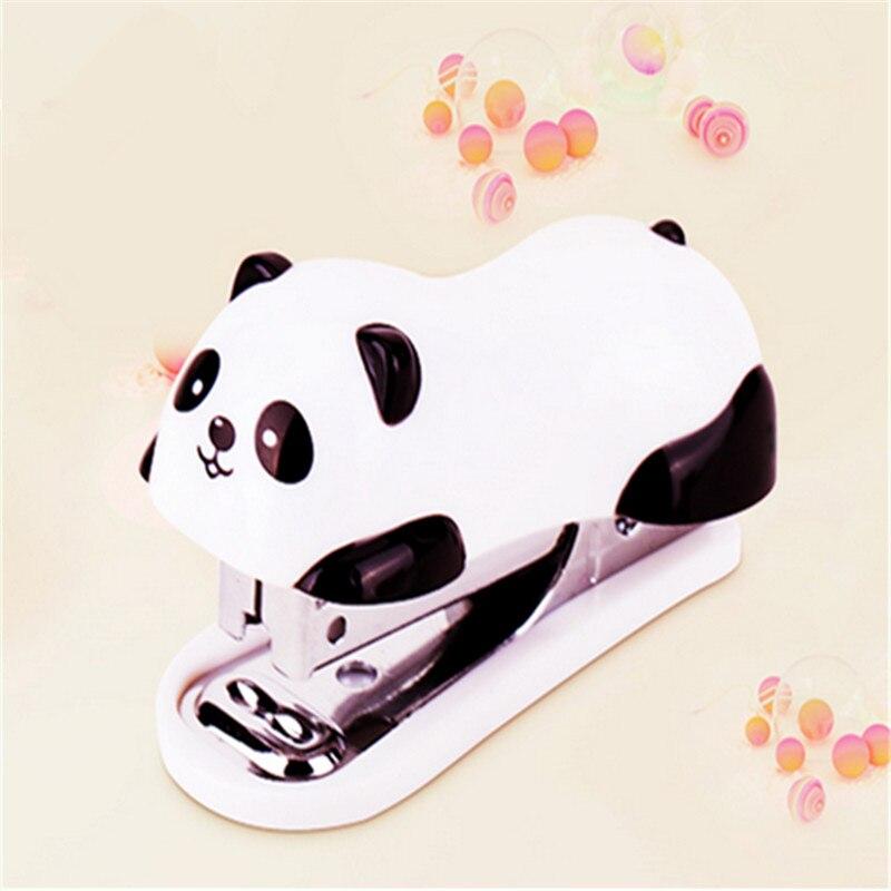Мини-степлер с рисунком панды, школьные принадлежности, канцелярские принадлежности, скрепка для бумаги, переплет, 1 шт.