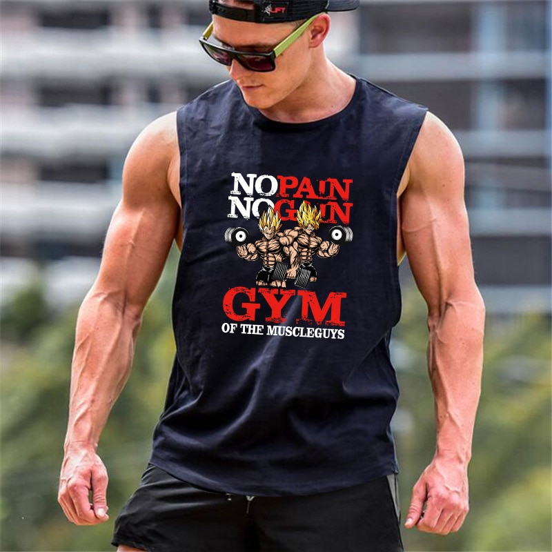 Mens Bodybuilding Cartoon Tank Top Gym Fitness Loose Cotton Sleeveless shirt Anime Clothing Stringer Singlet Male Vest