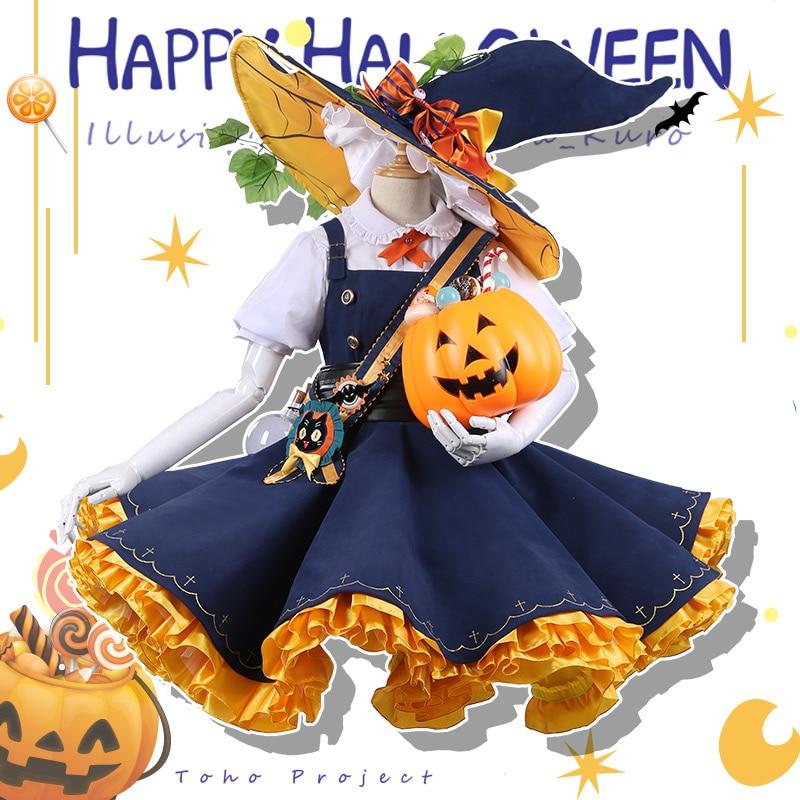 ¡Anime! Touhou Project Kirisame Marisa Halloween vestido de Carnaval Lolita encantador uniforme Cosplay traje para las mujeres GRATIS Nuevo el envío