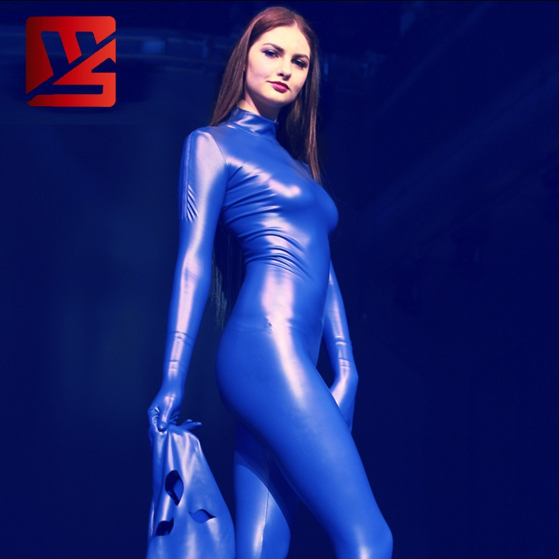 Cosplay Body complet justaucorps brillant Body Latex fermeture à glissière bidirectionnelle entrejambe ouverte Body élastique Moto & Biker tenue de Club avec masque F170