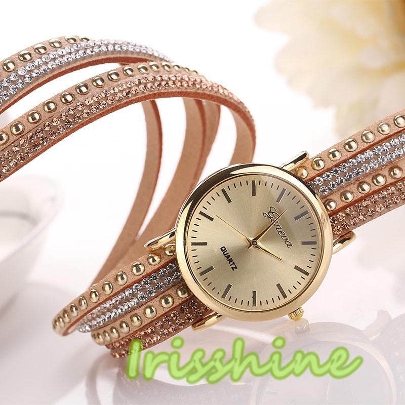 Irisshine #1129 Women girl laydy Watch Crystal Rivet Bracelet Quartz Braided Winding Wrap WristWatch