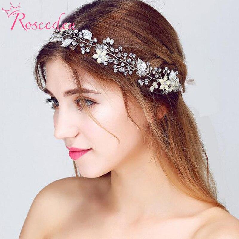 Fashion floral handgemachte hochzeit haar schmuck braut haar-accessoire perle haar reben brautjungfer silber Farbe kopfschmuck RE713