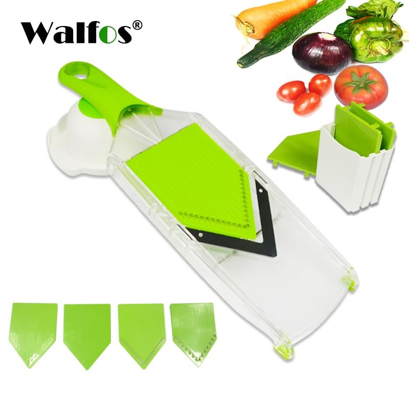 WALFOS آلة قطع ماندولين قطاعة الخضراوات اليدوية مع 4 شفرة البطاطس الجزرة مبشرة للخضراوات قطاعة بصل اكسسوارات المطبخ