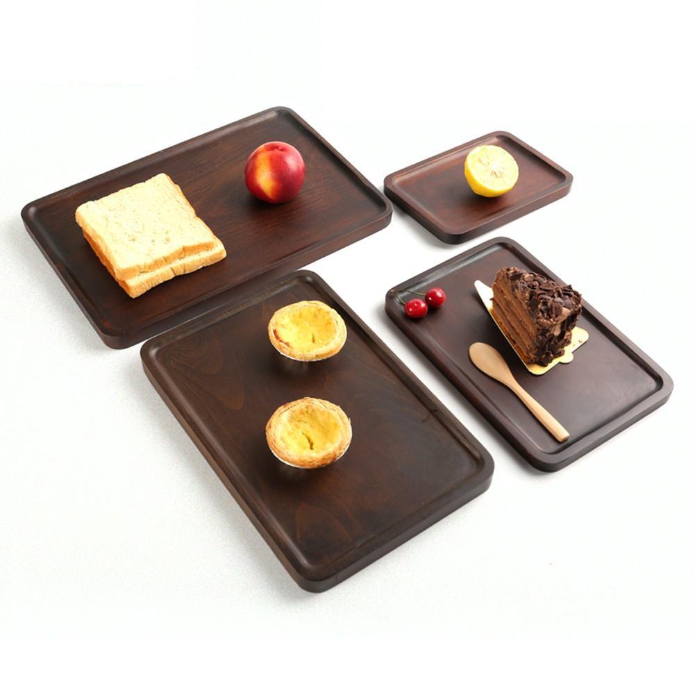 Bandeja de madera de haya para servir AIHOME Teaware, plato Rectangular de postre, plato de madera sólida para desayuno, bandeja de té de haya