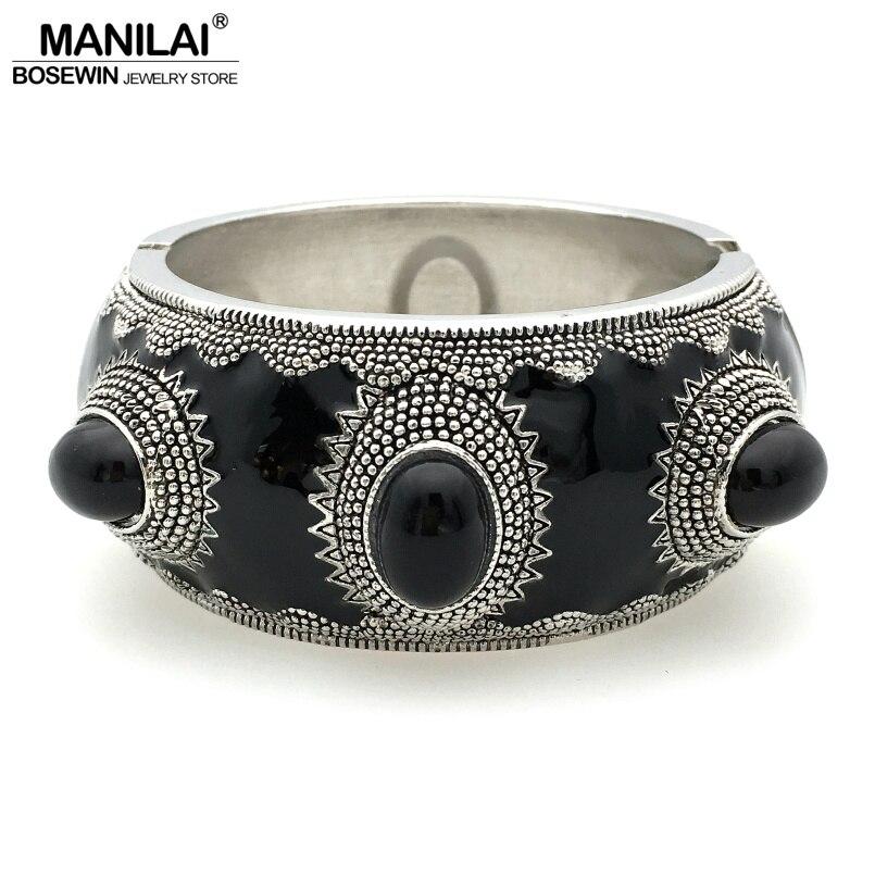 Manilai indiano vintage manguito bangles feminino jóias da forma liga embutimento resina étnica pulseiras & pulseiras atacado