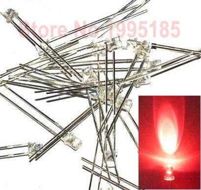 1000 шт/3 мм красный прозрачный плоский светодиодный светоизлучающий диодный светильник прозрачные линзы плоский верх широкий угол высокая я...