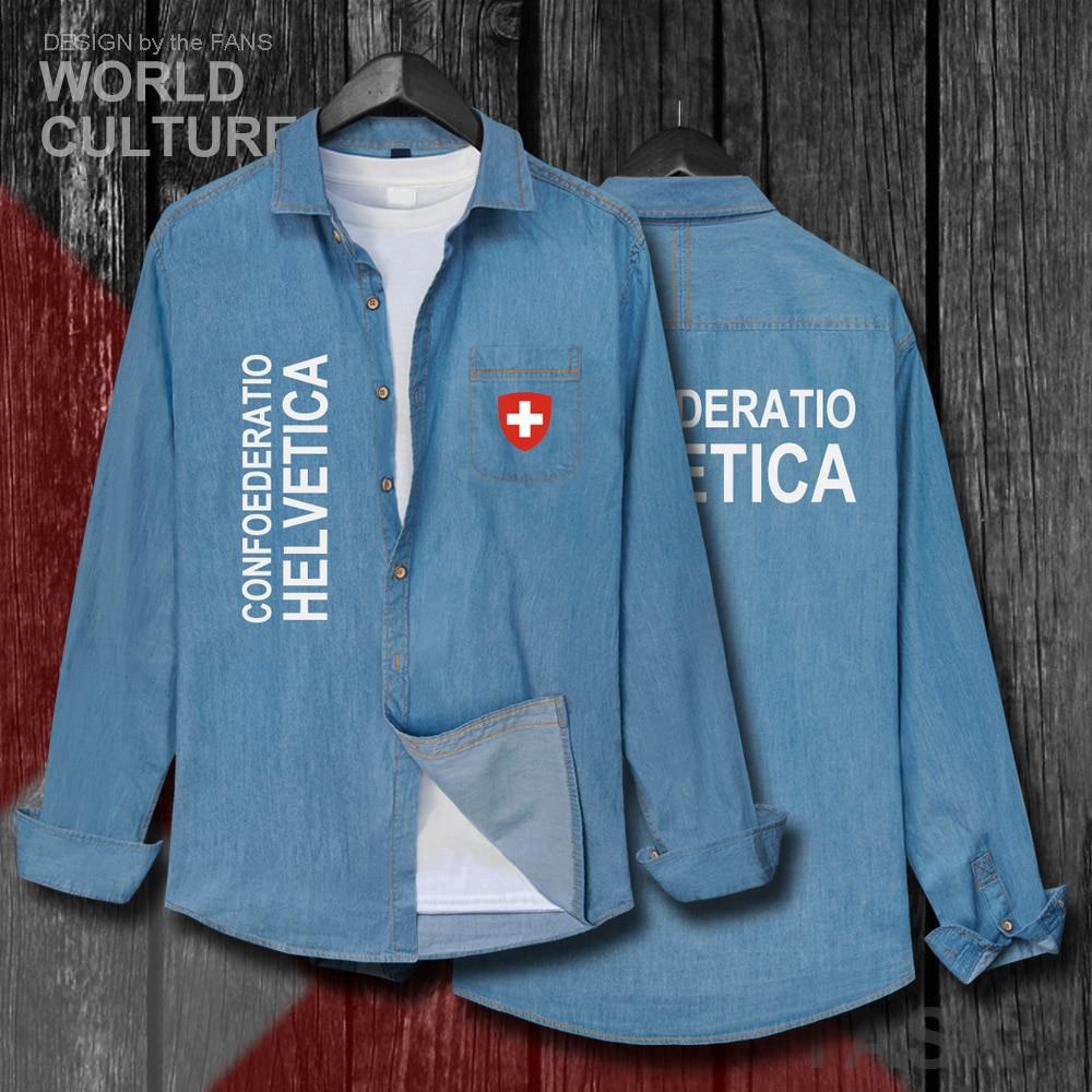 La Confederación Suiza CHE CH Confoederatio helvética hombres ropa de Otoño de algodón Jean camisa de manga larga vaquero abrigo 20