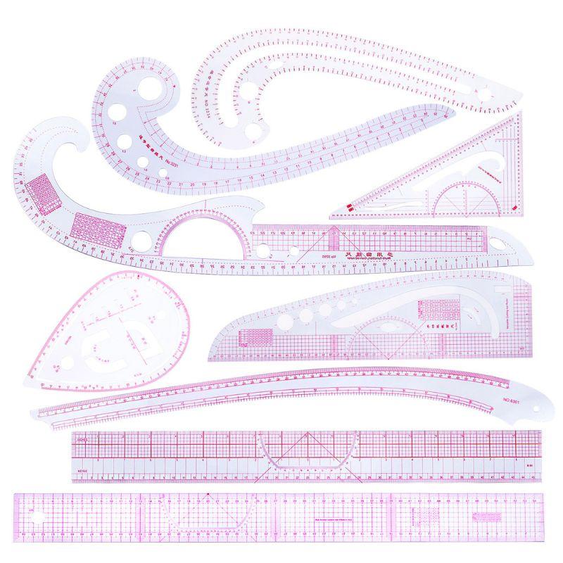 9 unids/set costura regla curvada francesa medida confección Sastre Plantilla de dibujo herramienta artesanal