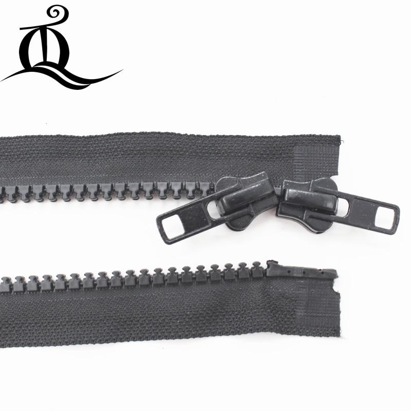 2 pcs 70 cm 8 # Preto duplo sliders zíper Resina Zíper Para Baixo Jacket/Sobretudo Zíper extremidade Aberta Zipper Acessórios de vestuário
