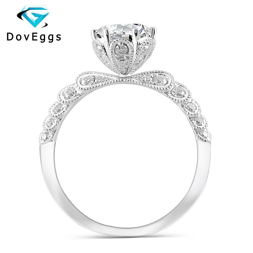 Doveggs 14 k ouro branco centro 1ct quilates 6.5mm f cor moissanite diamante anéis de noivado para anel de casamento feminino com acentos