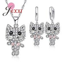 Dessin animé chaton conception bijoux ensembles à la mode fête accessoires 925 en argent Sterling colliers goutte boucles doreilles ensembles cadeaux pour les femmes