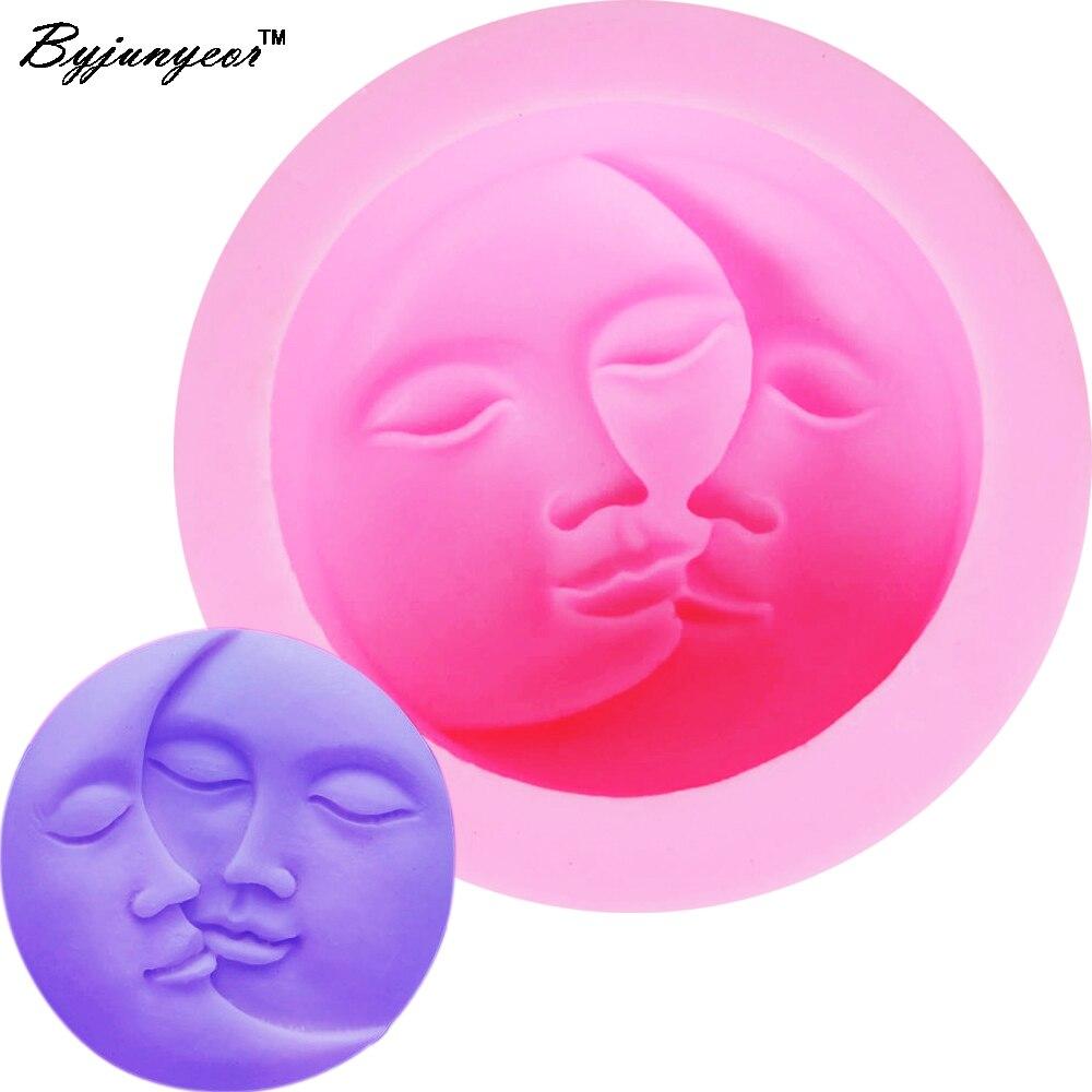 Силиконовая форма F1157 Sun Moon Lover Kiss, УФ-полимер, фондана, шоколада, конфет, кристалла, эпоксидная глинистая штукатурка, форма для бетонных свече...