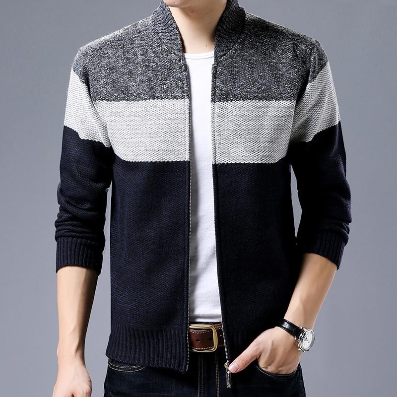 2020 New Fashion Brand Clothing Jacket Men Casual Mandarin Collar Mens Coat Gradient knitting Zippers Mens Jackets And Coats