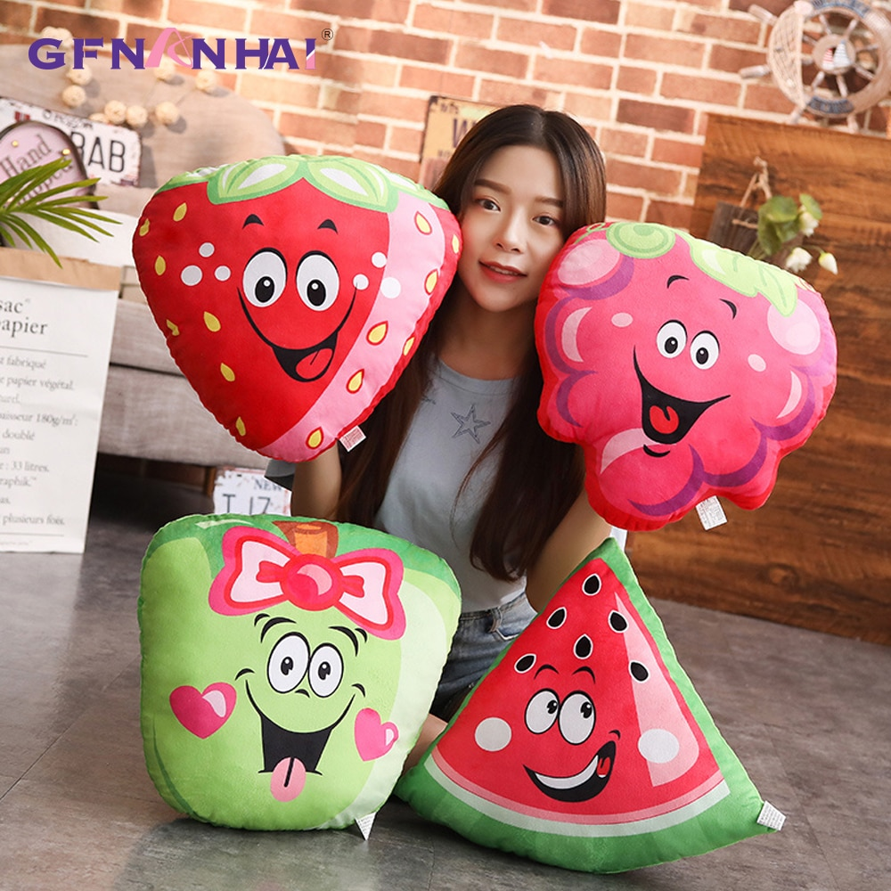 kawaii Cartoon Fruit Plush Pillow Lovely Mini Fruit Plush Bag Pendant Dolls Cute Strawberry Apple Plush Toy Stuffed Kids Toy