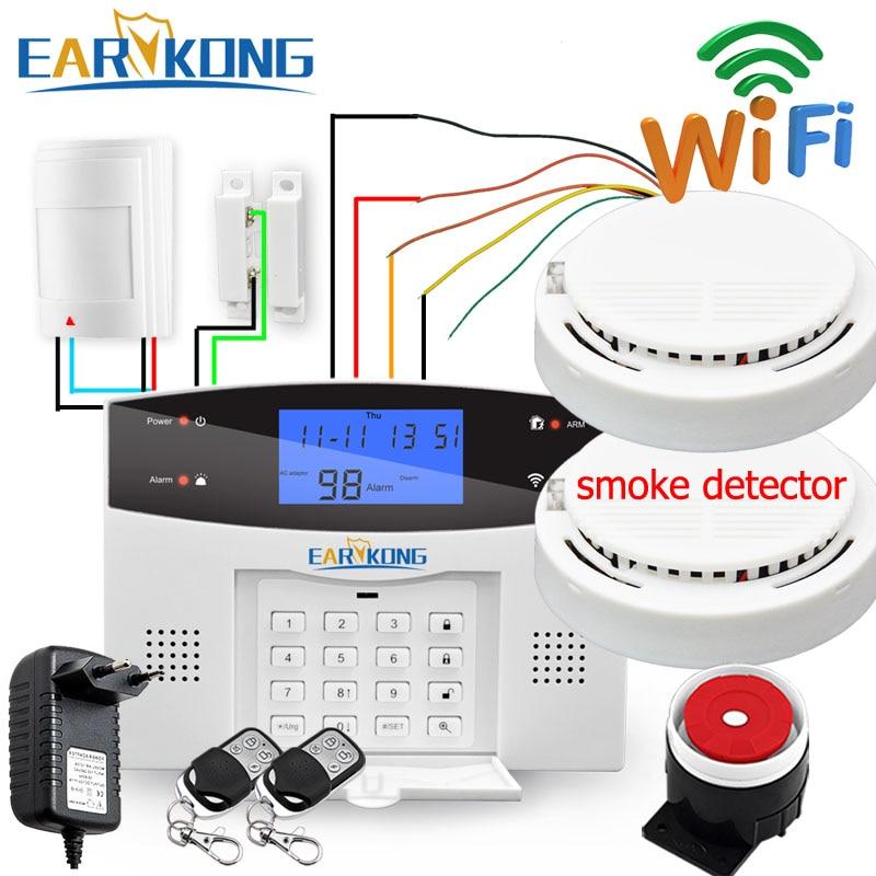 Wired & sem fio 433 mhz, wifi pstn gsm casa sistema de alarme segurança do assaltante relé casa inteligente saída app russo espanhol 7 idioma