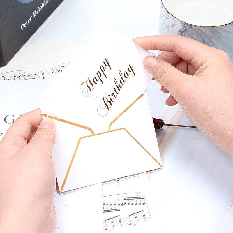 Simple bronceado redacción pequeña tarjeta gracias postal tarjeta de regalo con sobre 5 unids/lote para boda fiesta evento a AQ099