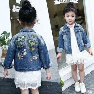Spring Autumn Girls Denim Jackets Child Jean Jacket Baby Girls Flowers Butterfly Children Cowboy Casual Outwear Kids Coat 6-15T