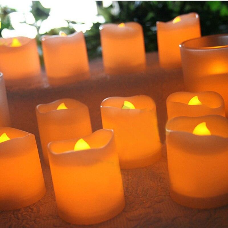 12 шт./лот, яркий мерцающий беспламенный светодиодный чайный свет, электрическая поддельная свеча, на батарейках, домашний декор -- WWO66