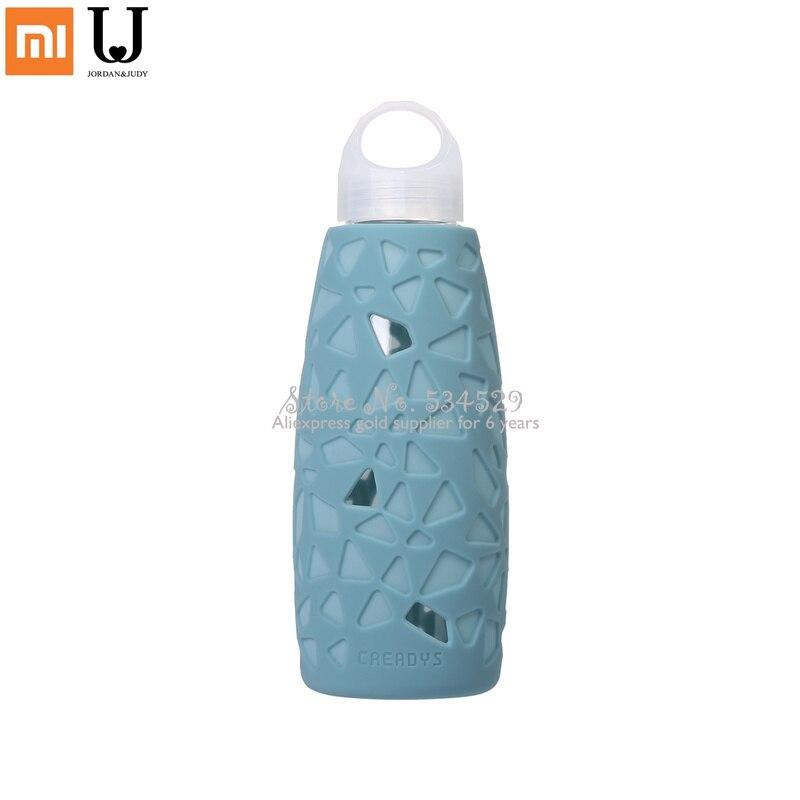 Hogar Inteligente X 350ML creativo de silicona de vidrio taza de agua geométrico rompecabezas boro alto botella portátil de botellas de té de Anti-caliente