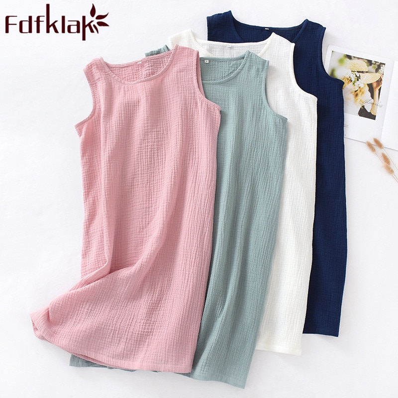Лето 2020 женская ночная рубашка без рукавов Ночная рубашка женская хлопковая Ночная Рубашка розовая/белая длинная ночная рубашка Fdfklak