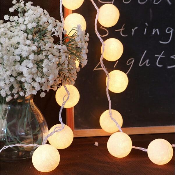 3M 20 sztuk bawełniane światełka kule zasłony String Aladin LED lampa ciepłe białe lampki girlandy LED dekoracyjne światła na wesela