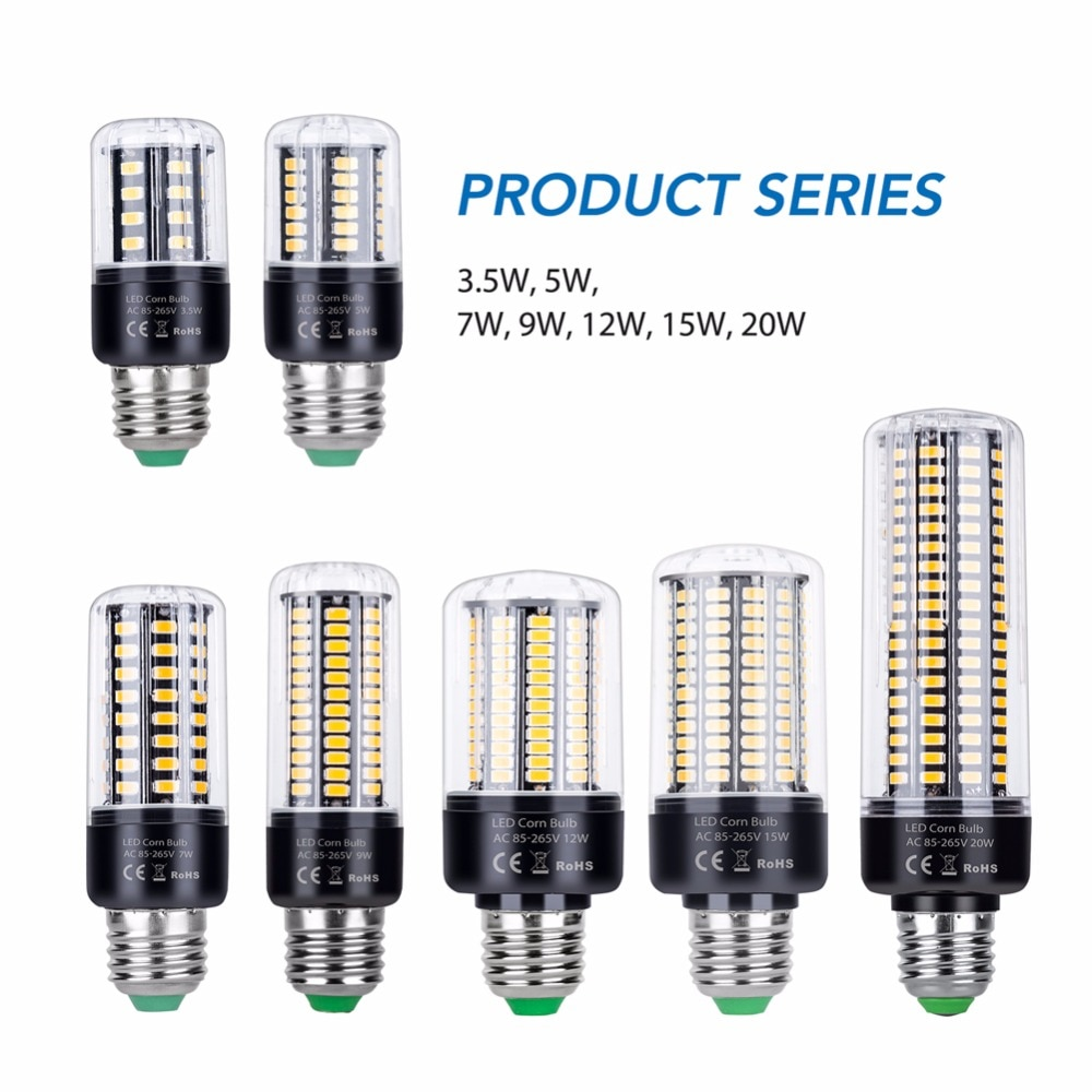 CanLing E27 Led Lamp E14 Corn Light 220V Lampada Bombillas 5736 Bulb 28 40 72 108 132 156 189LEDs 85-265V