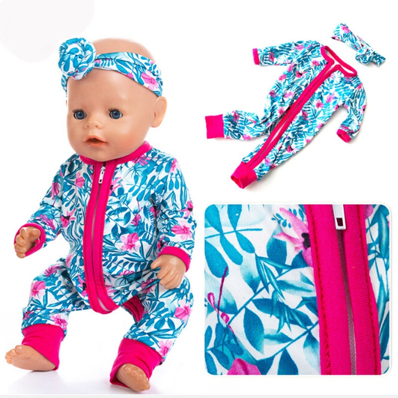 Rompers Jumpsuits+Hairbrand Doll Clothes Fit For Doll Clothes Born Baby Fit 17 inch 43cm Doll Access