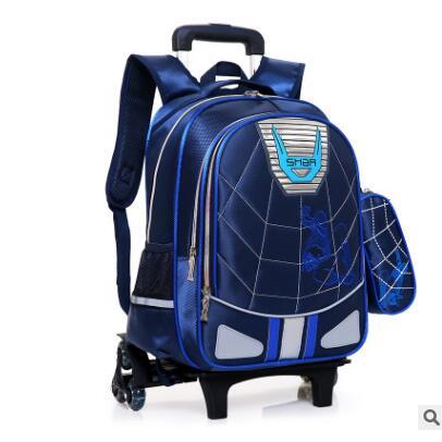 Mochila de carro escolar para estudiante, bolsa de escuela para niño, con ruedas, bolsa de equipaje rodante para chico, mochila con ruedas para niños