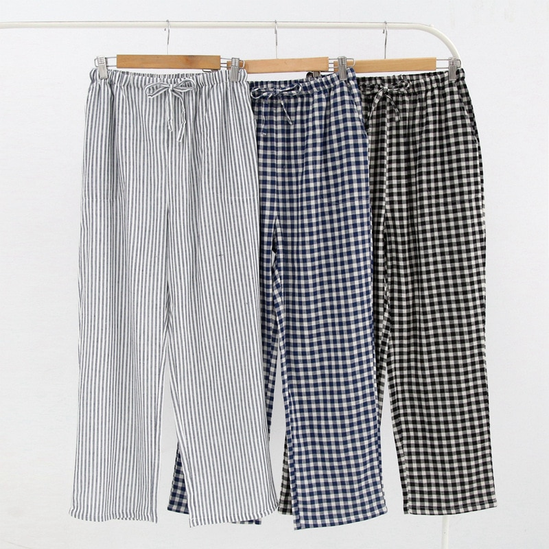 Mens and Womens Cotton Home Pajama Pants Cotton Plaid Sleep Bottoms Sleeping Lounge Pants Plus Size