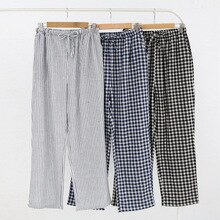 Mens and Womens Cotton Home Pajama Pants Cotton Plaid Sleep Bottoms Sleeping Lounge Pants Plus Size