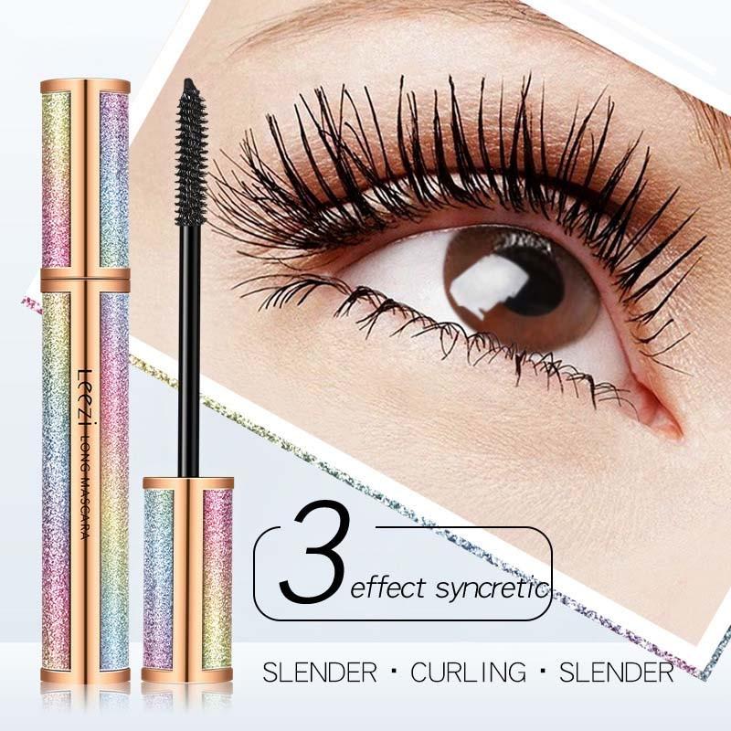 Máscara de fibra suave 4D resistente al agua, secado rápido, maquillaje, alargamiento, rizado, negro, de belleza para ojo, cosméticos