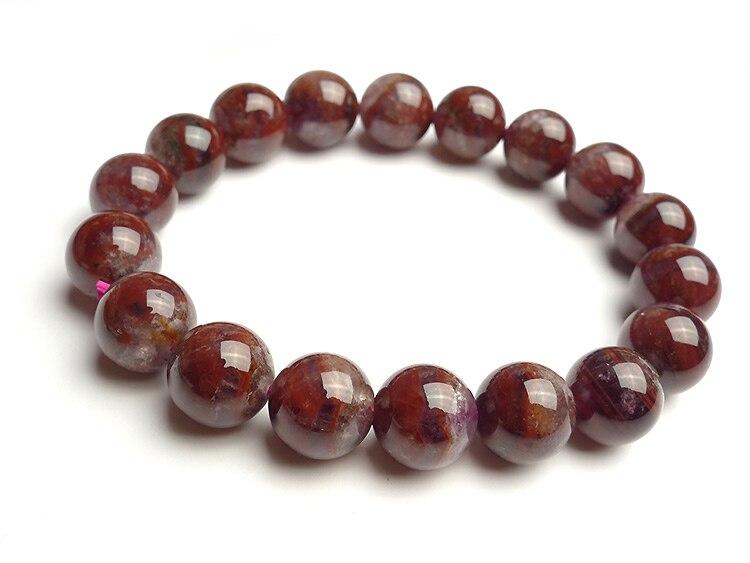 11mm Natural rojo púrpura Auralite 23 pulsera para Mujeres Hombres cuentas redondas Canadá piedra preciosa estirable moda pulsera joyería AAAAA