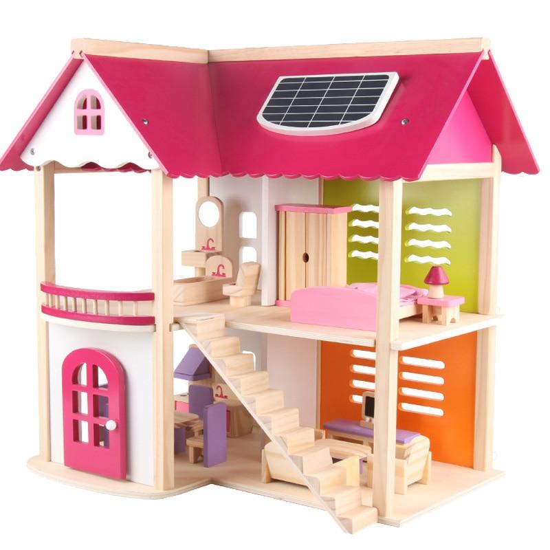 Tamanho grande diy brinquedos casa de boneca grandes acessórios móveis em miniatura de madeira casa de bonecas modelo de brinquedo para meninas presente compõem o quarto