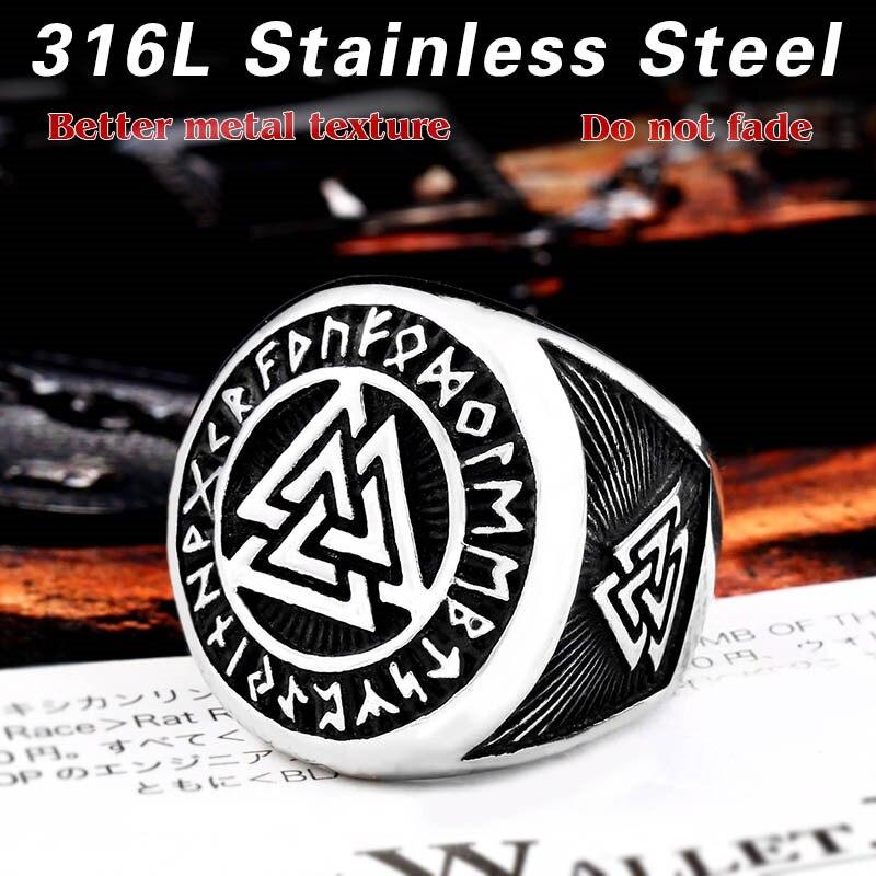 BEIER 316L Stainless Steel Viking Triangular Men's Ring Nordic Bodyguard Symbol High Quality Jewelry LLBR8-584R
