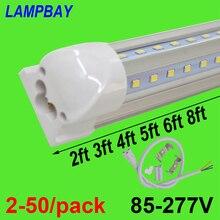 2-50/paquet Tube LED en forme de V lumières 2ft 3ft 4ft 5ft 6ft 8ft 270 angle ampoule T8 intégré luminaire Linkable barre lampe Super lumineux