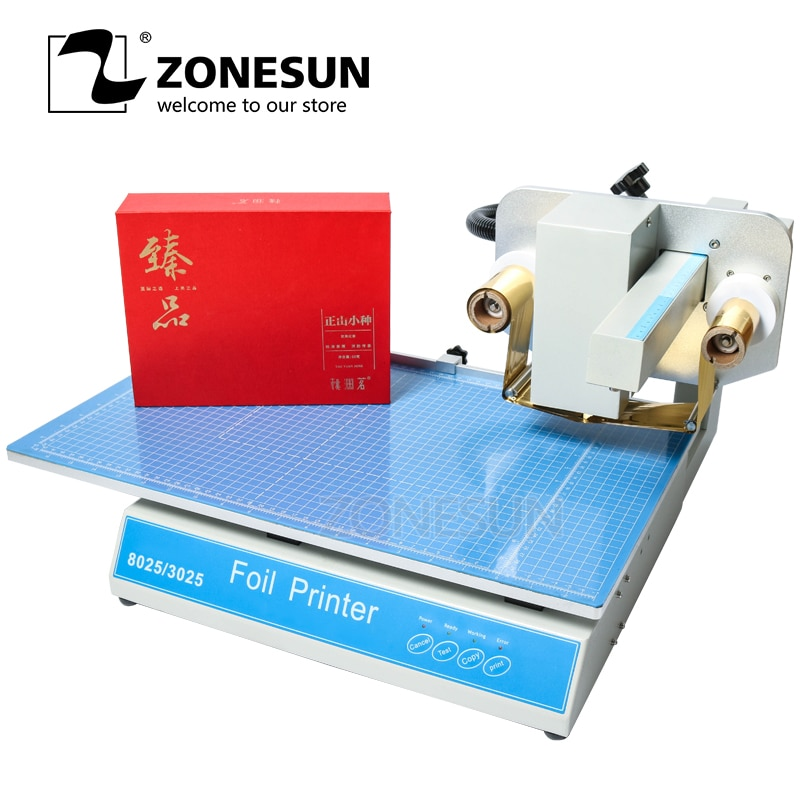 ZONESUN Hot Stamping Machine Digital press simulator Sheet Printer Plateless Hot Foil Printer Plastic leather