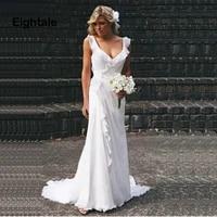 eightale beach wedding dresses plus size open back bridal dresses chiffon pleats white ivory simple boho wedding gown 2019
