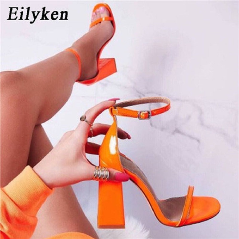 Eilyken New High heels Women Sandals Ankle Strap 2020 Summer shoes Square heel Open-toed Buckle Strap Sandals Pumps shoes