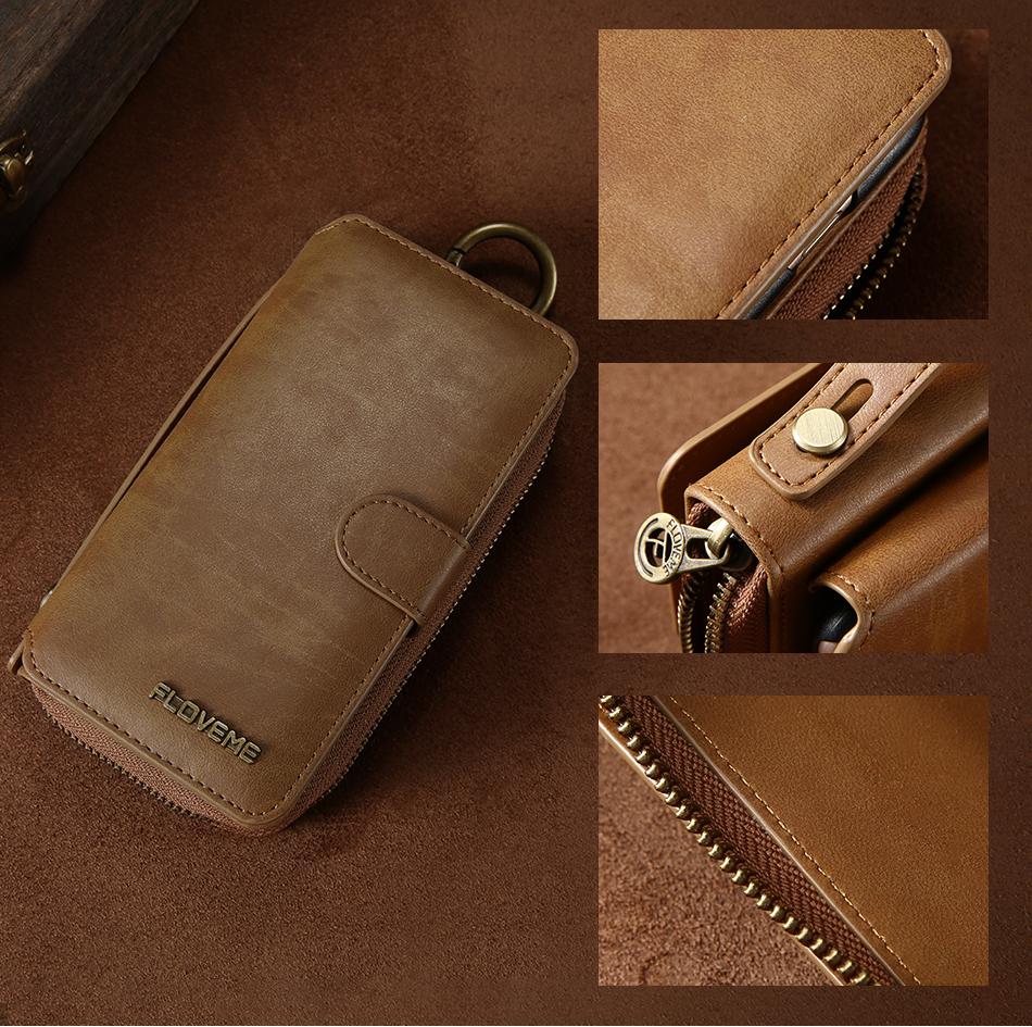 Floveme vintage leather wallet phone case for iphone 7 7 plus 6 6 s plus retro torebka slot kart pokrywa dla samsung s7 s8 coque 16