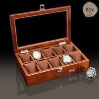 Top 10 Slots Wooden Watch Storage Box Case New Mechanical Watch Organizer With Window Jewelry Gift Case Holder
