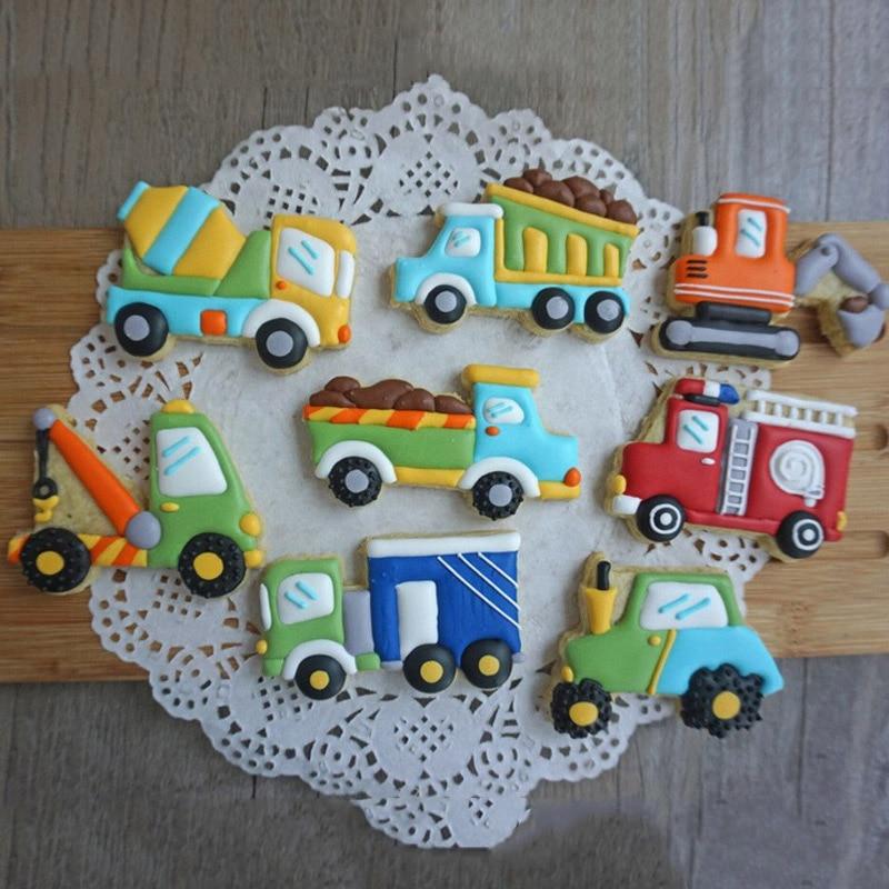 Véhicule machines camion forme Biscuits Fondant moules mélangeur grue voiture pompier Biscuits coupeurs moules bricolage gâteau décoration outil