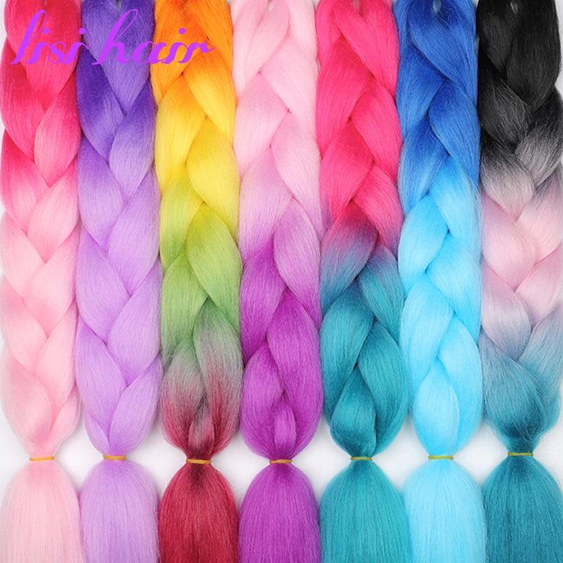 Pelo LISI 24 pulgadas trenzas Jumbo largo degradado Crochet pelo trenzado sintético Rubio rosa azul 88 tipos de Peinados de moda