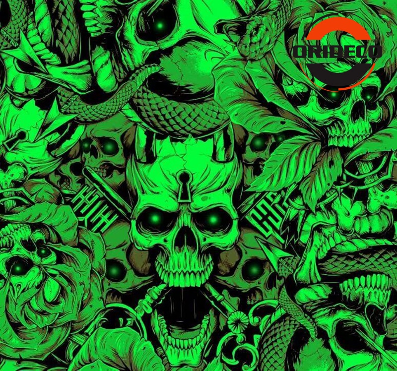 5/10/15/20/25/30 m * 1.52 m Verde Dos Desenhos Animados Crânio Adesivo Bomba adesive Pellicole Envoltório Fresco DIY Película Decorativa De Vinil Camo