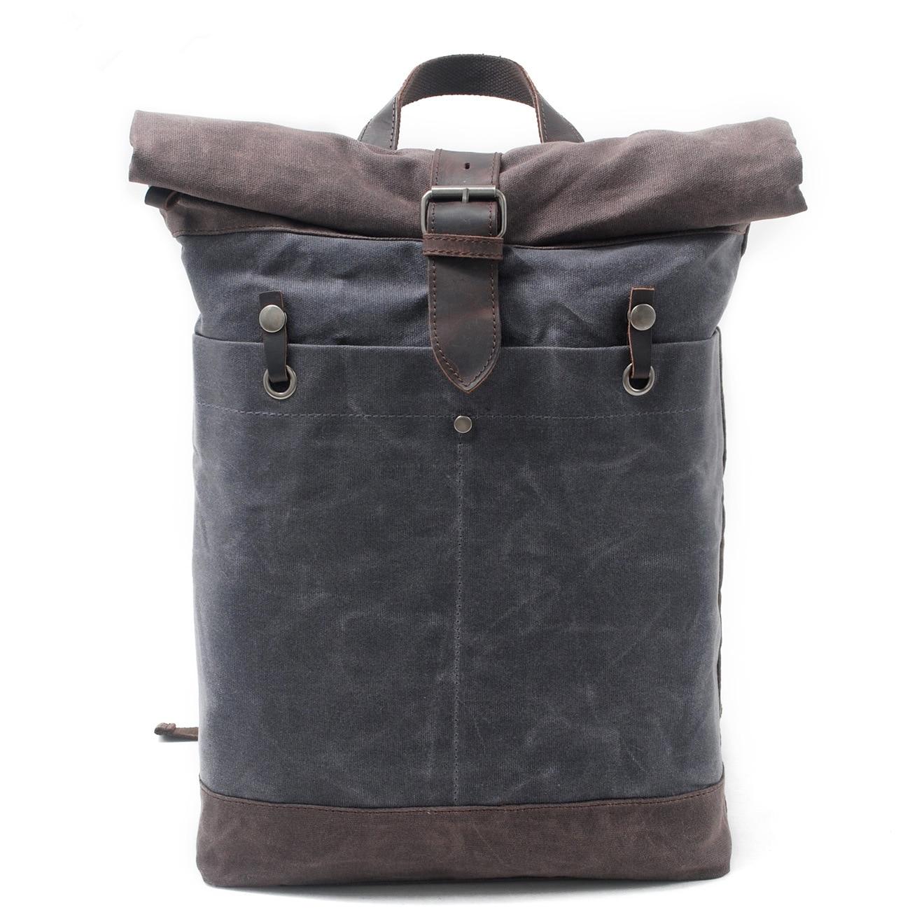 Bolso de cuero de vaquero de lujo para hombre, bolso de lona encerado Batik, mochila enrolladas, bolsa de viaje impermeable para hombre