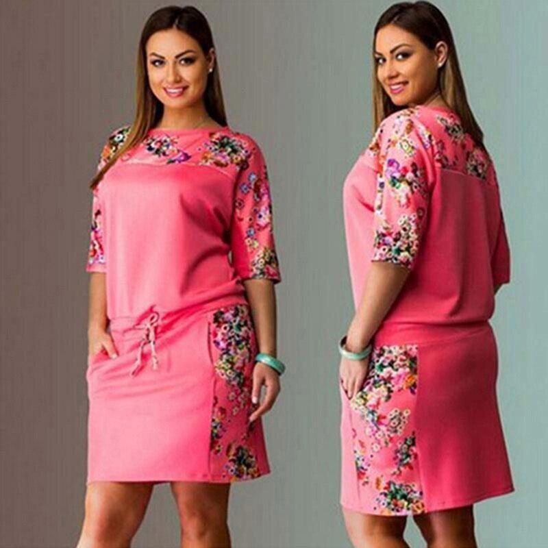 6XL новое летнее платье большого размера для женщин Vestidos размера плюс размер Повседневное прямое платье с цветочным принтом Большие размеры женские вечерние платья