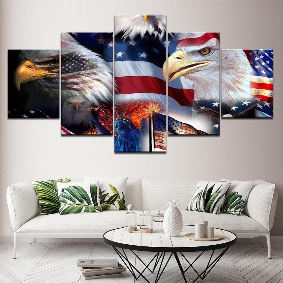 Moderne 5 Panel Eagle Amerikaanse Vlag Muur Canvas Schilderij Modulaire Gedrukt Poster slaapkamer woonkamer Home Decor Foto muurschildering