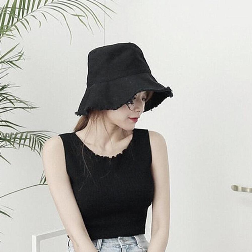 MISSKY mujeres verano bustier sombreros conciso elegante plegable de Color sólido sombrero de sol mujeres pescador gorras